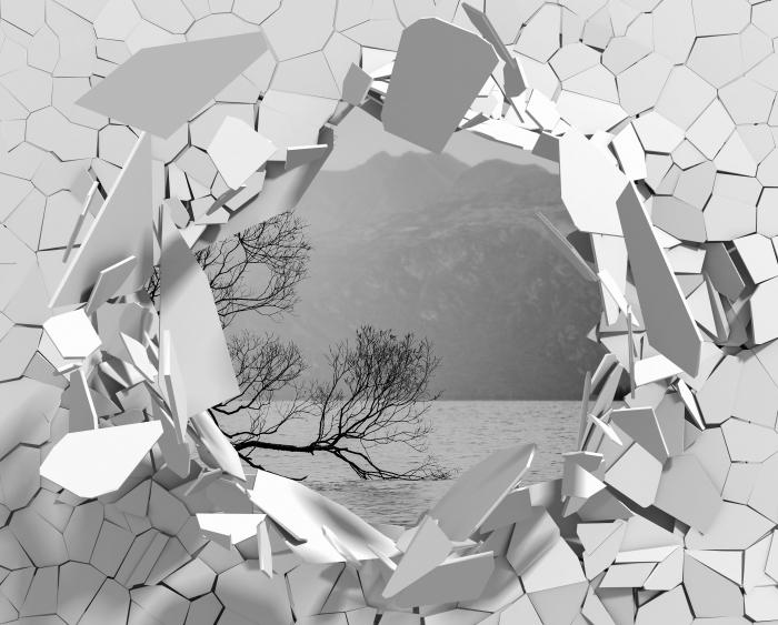 Vinil Duvar Resmi Delik duvar - Peyzaj. Yeni Zelanda - Duvarda delikler