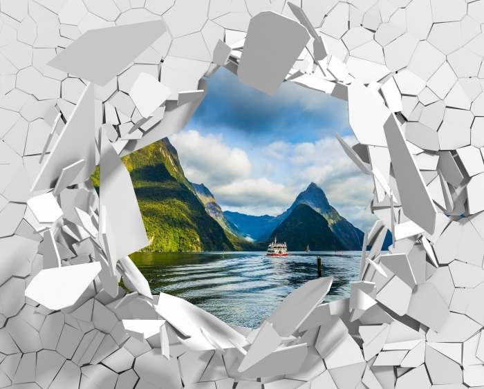 Fototapeta winylowa Dziura w ścianie - Wybrzeże i góry - Dziury w ścianie