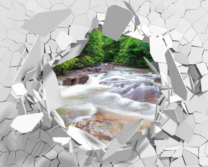 Fototapeta winylowa Dziura w ścianie - Wodospad w lesie - Dziury w ścianie