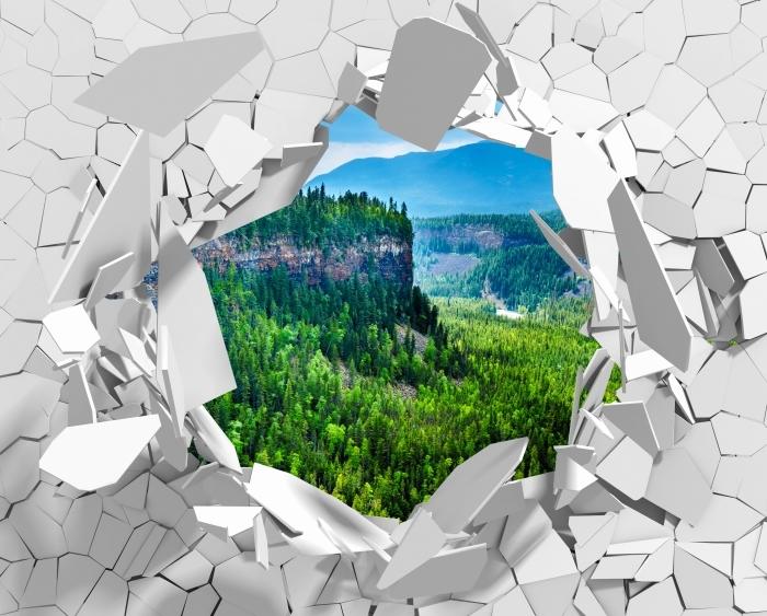 Vinyl-Fototapete Loch in der Wand - Kolumbien. - Durchbruch in der Wand