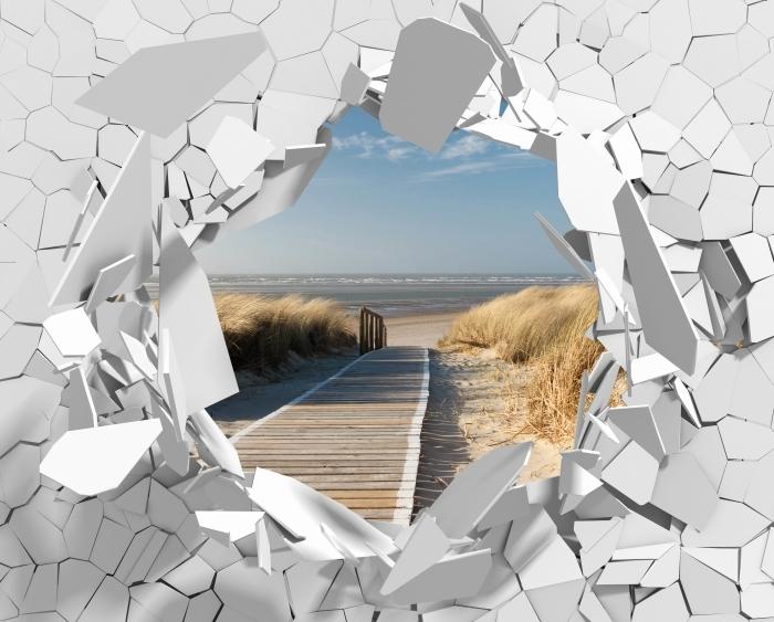 Vinyl-Fototapete Loch in der Wand - Nordsee Strand auf Langeoog - Durchbruch in der Wand