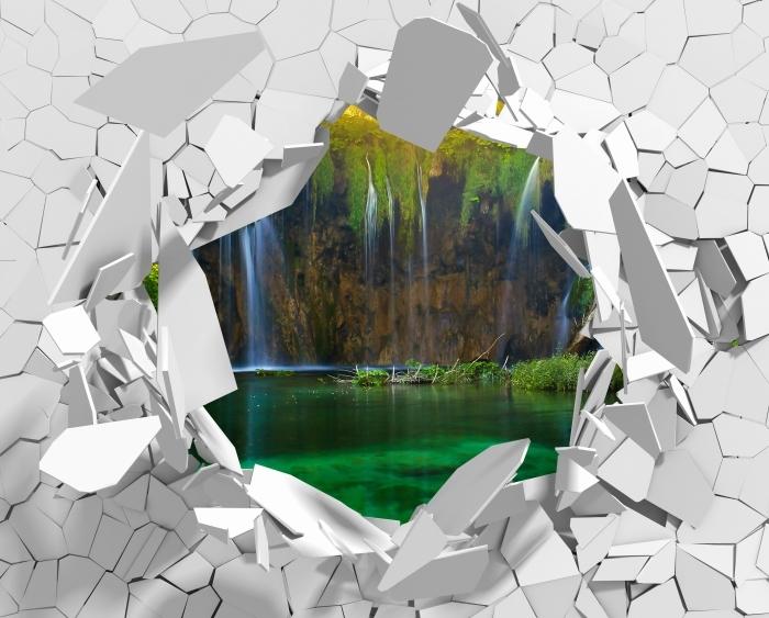Fototapeta winylowa Dziura w ścianie - Jeziora Plitwickie. Chorwacja. - Dziury w ścianie