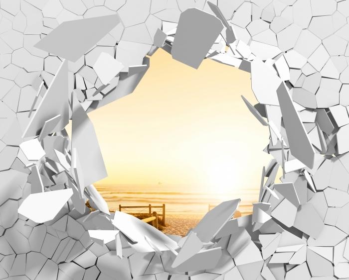 Fototapeta winylowa Dziura w ścianie - Zachód słońca nad oceanem. - Dziury w ścianie