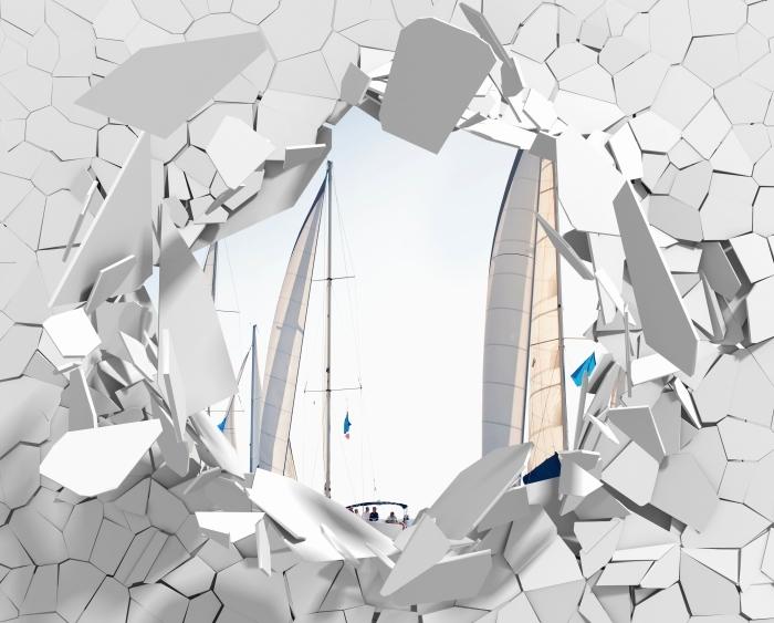 Vinyl-Fototapete Loch in der Wand - Yachten mit weißen Segeln - Durchbruch in der Wand