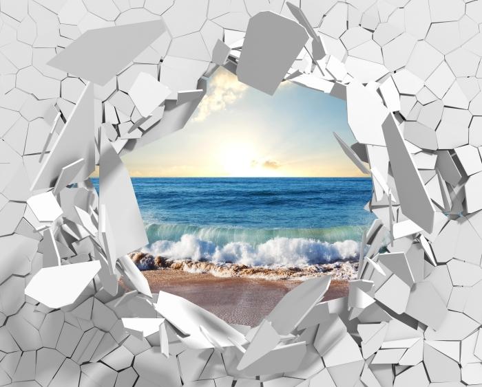 Papier peint vinyle Trou dans le mur - mer. Coucher du soleil. - Les trous dans le mur