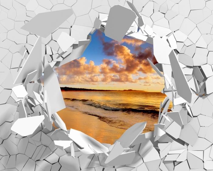 Vinyl Fotobehang Gat in de muur - Zonsondergang op het strand - Gaten in de muur