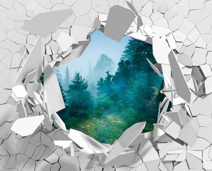 Vinyl-Fototapete Loch in der Wand - Nebel - Durchbruch in der Wand