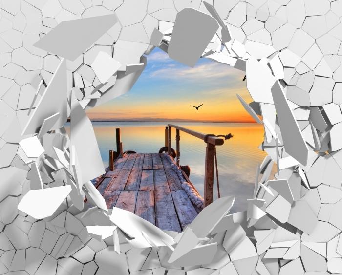 Papier peint vinyle Trou dans le mur - Lac - Les trous dans le mur