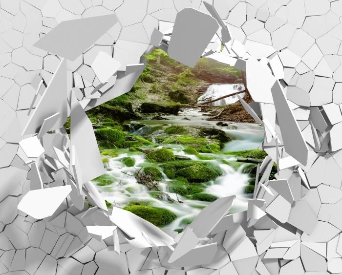 Fototapeta winylowa Dziura w ścianie - Las i wodospad - Dziury w ścianie