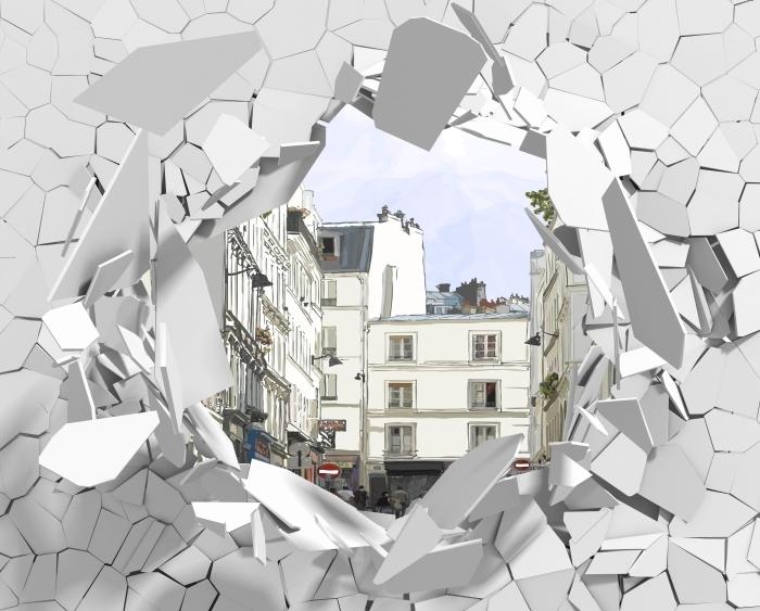 Carta da Parati in Vinile Buco nel muro - Parigi - Buchi nel muro