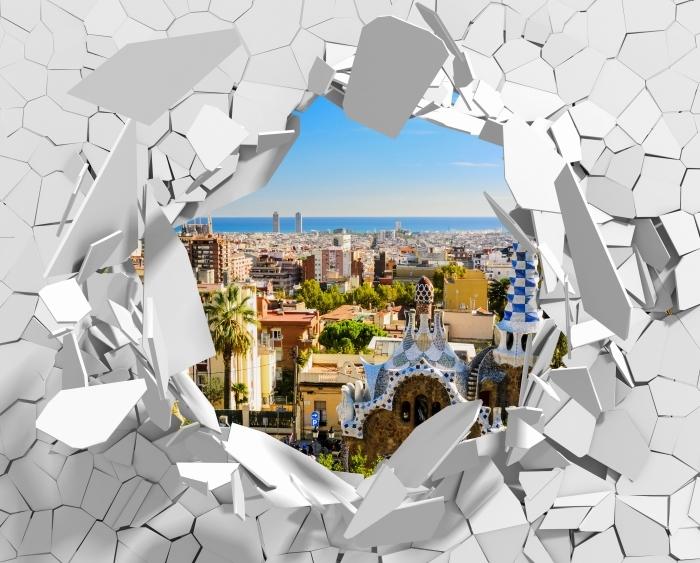 Fototapeta winylowa Dziura w ścianie - Park Guell w Barcelonie. Hiszpania. - Dziury w ścianie