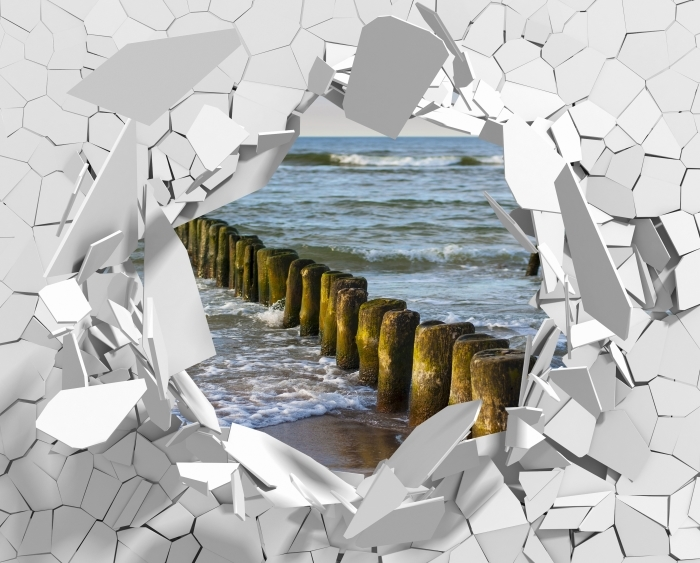 Papier peint vinyle Trou dans le mur - Coucher de soleil sur la mer Baltique - Les trous dans le mur