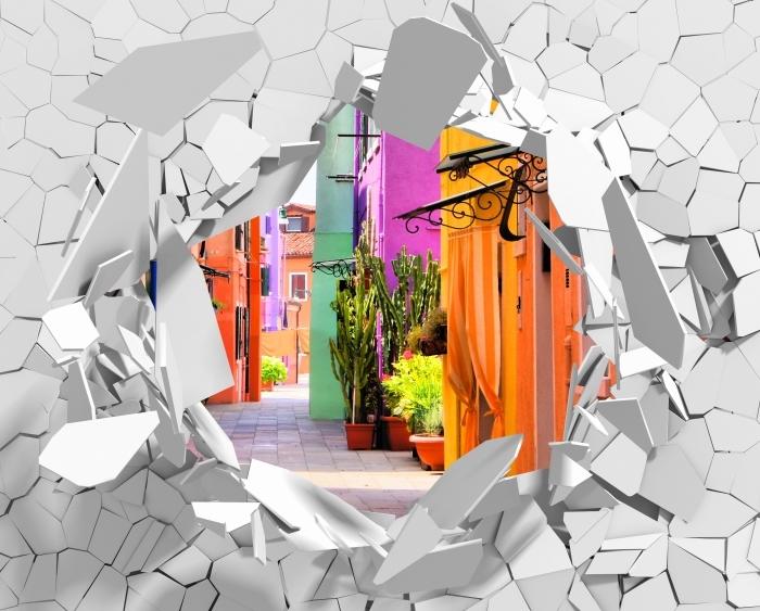 Vinyl-Fototapete Loch in der Wand - Bunte Straße in Burano. Italien. - Durchbruch in der Wand