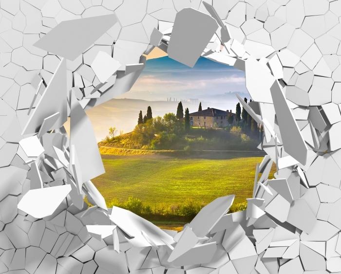 Vinyl-Fototapete Loch in der Wand - Toskana in der Morgendämmerung - Durchbruch in der Wand