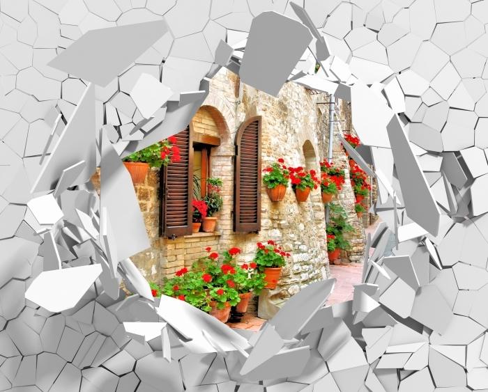 Papier peint vinyle Trou dans le mur - colline italienne - Les trous dans le mur