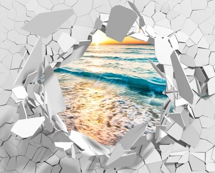 Fototapeta winylowa Dziura w ścianie - Wschód słońca na plaży - Dziury w ścianie