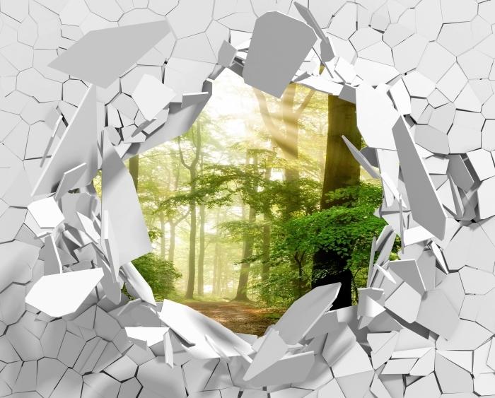 Vinyl-Fototapete Loch in der Wand - Wald - Durchbruch in der Wand