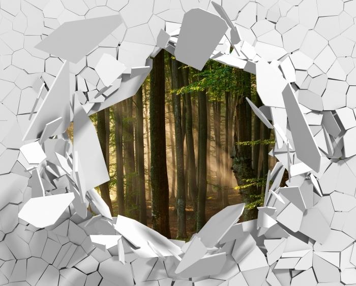 Fototapeta winylowa Dziura w ścianie - Jesień - Dziury w ścianie