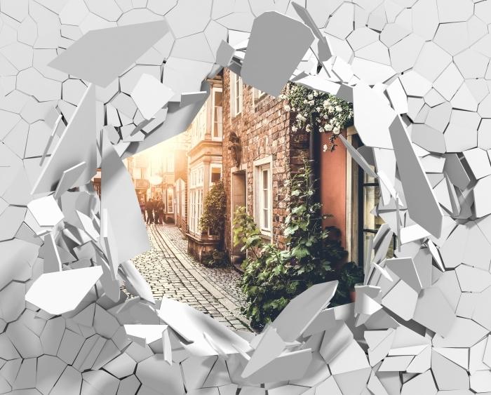 Vinyl Fotobehang Gat in de muur - Oude straten - Gaten in de muur
