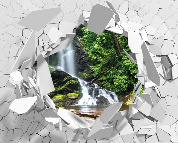 Vinyl-Fototapete Loch in der Wand - Wasserfälle im Wald - Durchbruch in der Wand