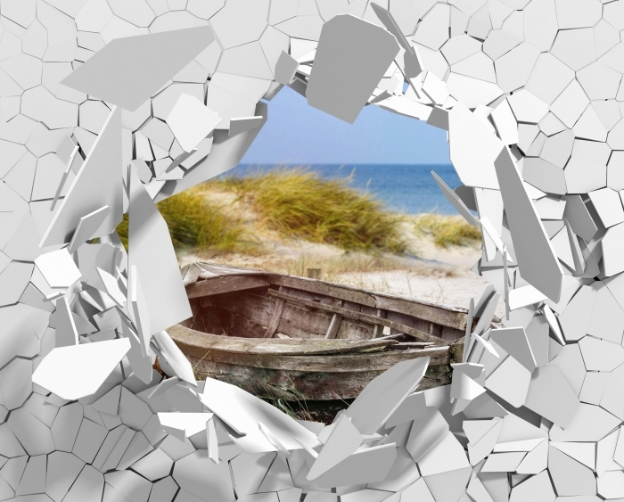 Hole in the wall - beach by the sea Pixerstick Sticker - Holes in the wall