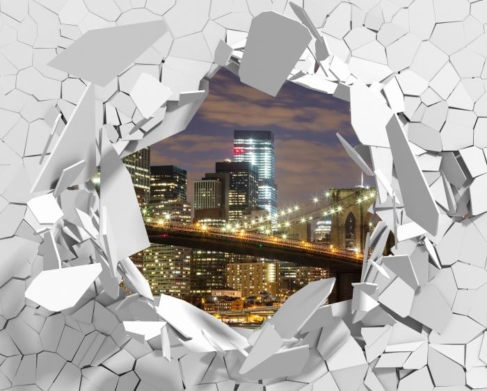Vinyl-Fototapete Loch in der Wand - Brooklyn Bridge - Durchbruch in der Wand