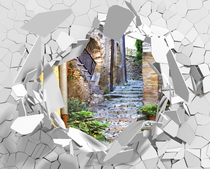 Papier peint vinyle Trou dans le mur - charmantes vieilles rues - Les trous dans le mur