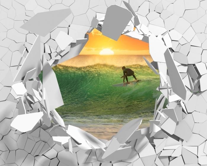 Fototapeta winylowa Dziura w ścianie - Surfing - Dziury w ścianie