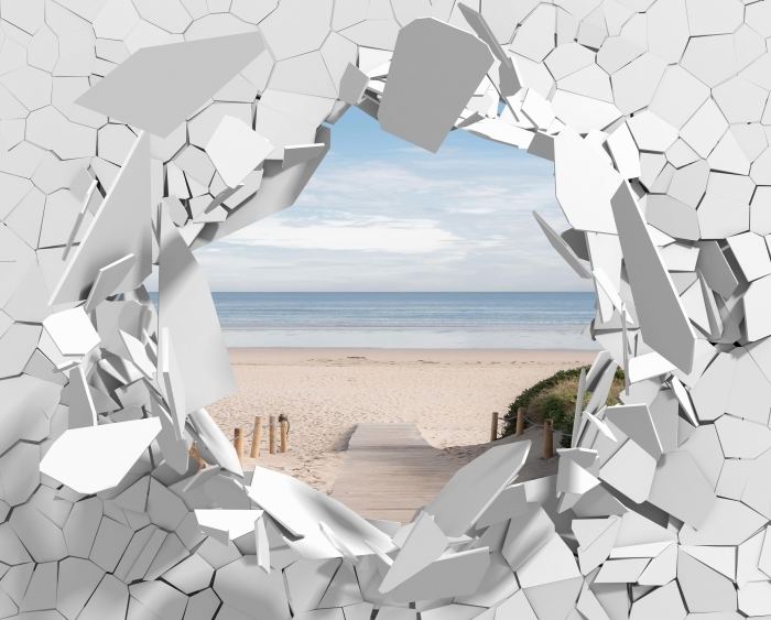 Vinyl Fotobehang Gat in de muur - strand en de zee - Gaten in de muur