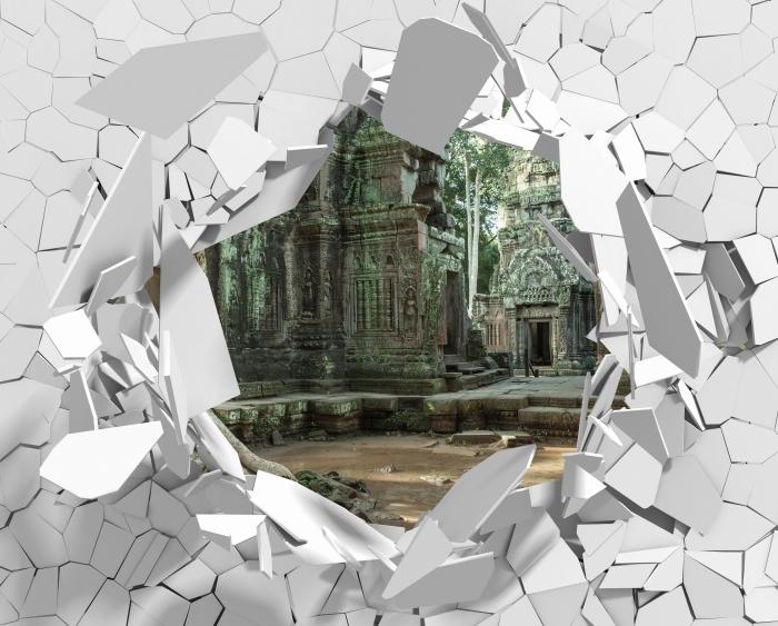 Fototapeta winylowa Dziura w ścianie - Kambodża - Dziury w ścianie