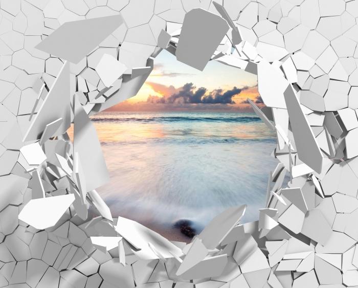 Fototapeta winylowa Dziura w ścianie - Plaża - Dziury w ścianie