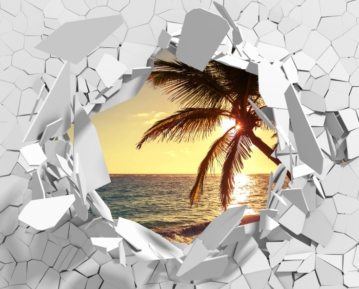 Papier peint vinyle Trou dans le mur - palmiers sur une plage tropicale - Les trous dans le mur