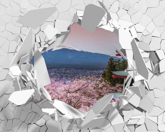 Vinyl-Fototapete Loch in der Wand - Fuji - Durchbruch in der Wand