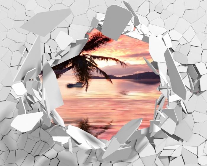 Vinyl-Fototapete Loch in der Wand - Sea - Durchbruch in der Wand