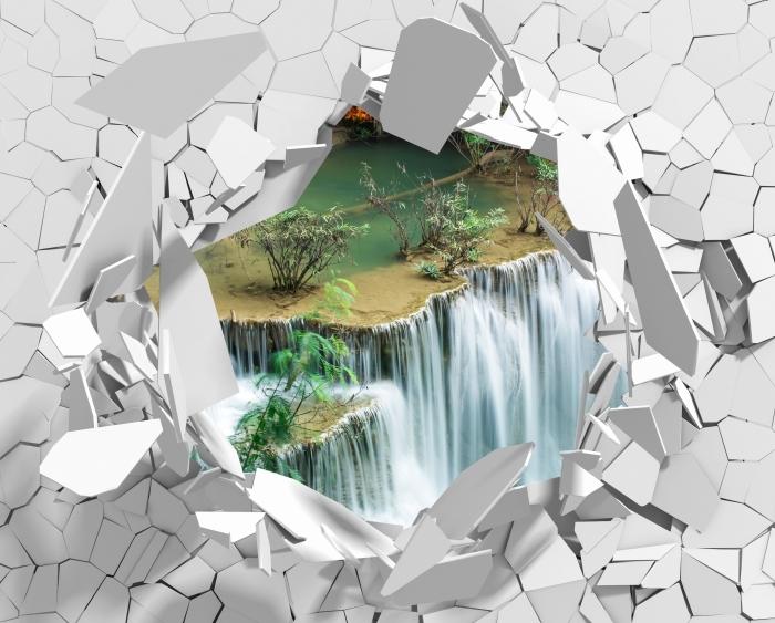 Fototapeta winylowa Dziura w ścianie - Piękny wodospad w lesie tropikalnym - Dziury w ścianie