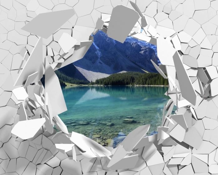 Vinyl-Fototapete Loch in der Wand - Sommermorgen - Durchbruch in der Wand