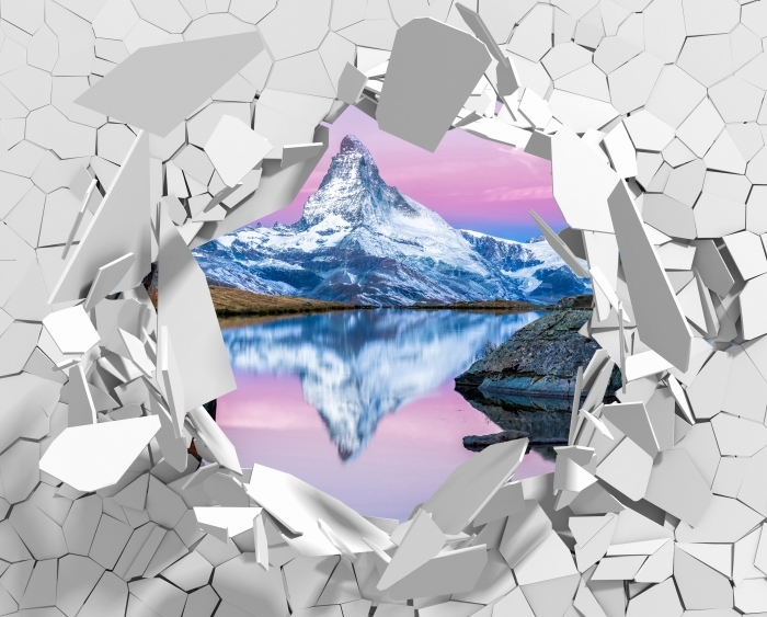 Fototapeta winylowa Dziura w ścianie - Jezioro i góry - Dziury w ścianie