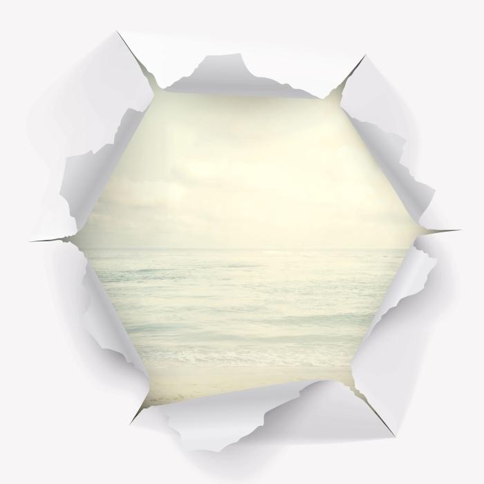 Papier peint vinyle Trou dans le mur - la plage en été - Les trous dans le mur