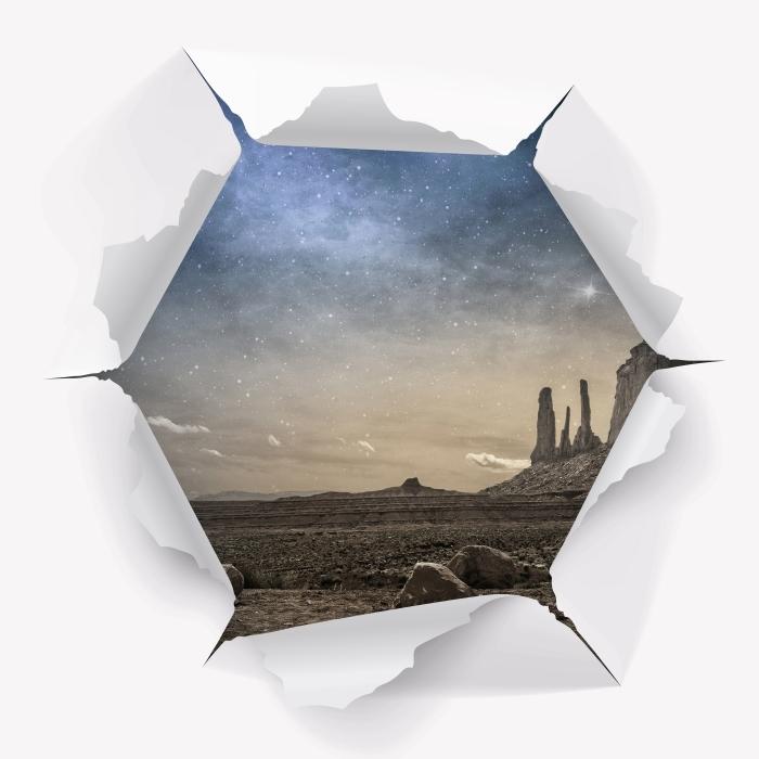 Fototapeta winylowa Dziura w ścianie - Skalista pustynia - Dziury w ścianie
