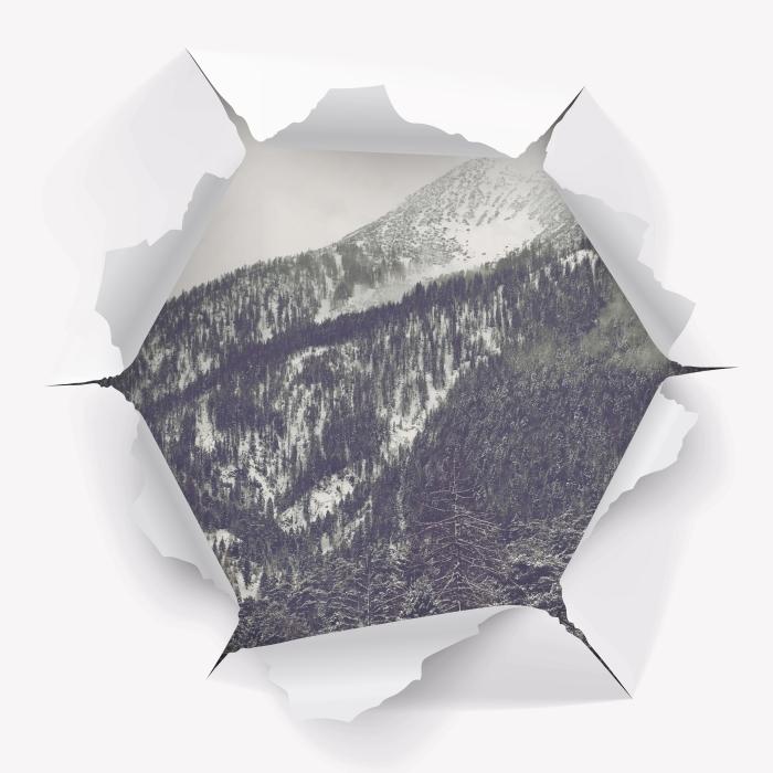 Vinyl-Fototapete Loch in der Wand - Wolken - Durchbruch in der Wand