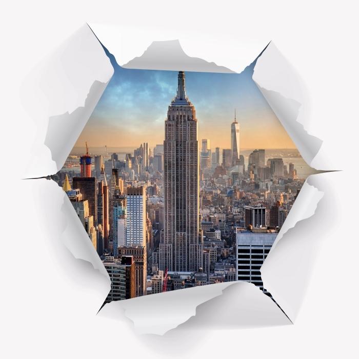 Vinil Duvar Resmi Delik duvar - New York - Duvarda delikler