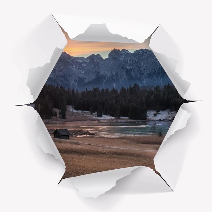 Vinyl-Fototapete Loch in der Wand - Bayern - Durchbruch in der Wand