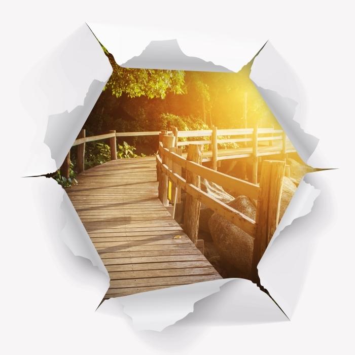 Vinyl-Fototapete Loch in der Wand - Thailand - Durchbruch in der Wand
