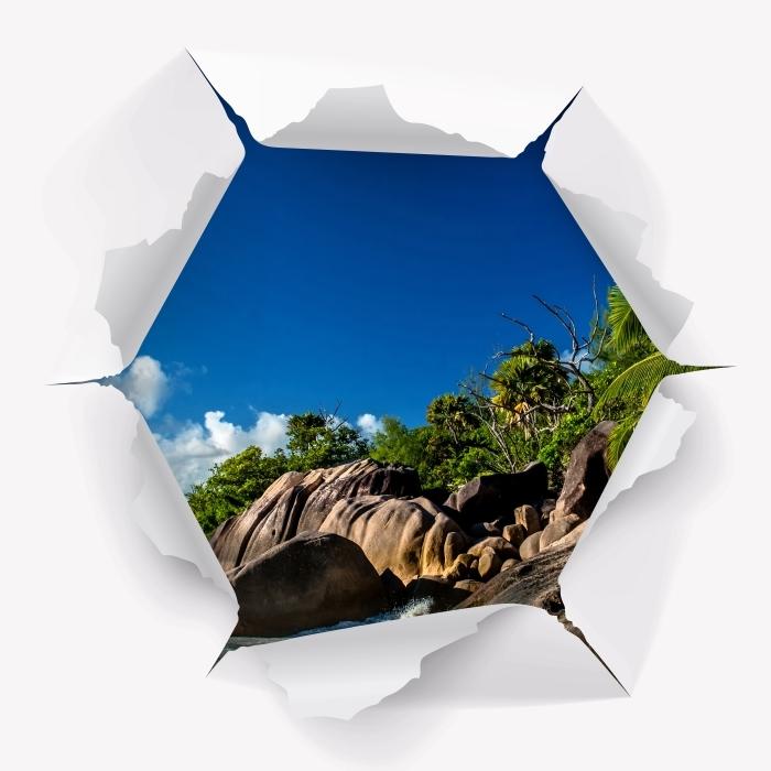 Vinyl-Fototapete Loch in der Wand - Tropical - Durchbruch in der Wand