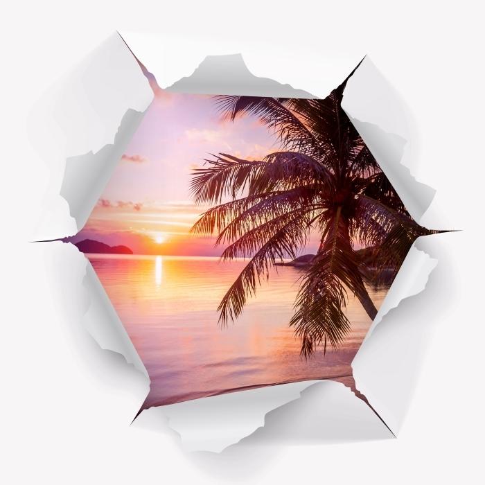 Carta da Parati in Vinile Buco nel muro - Spiaggia tropicale - Buchi nel muro
