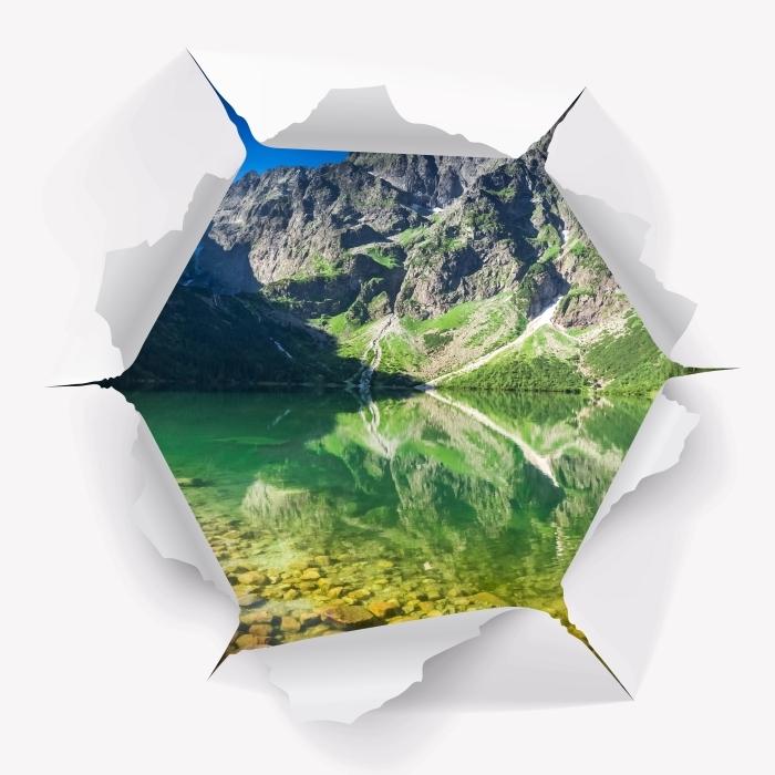 Vinyl-Fototapete Loch in der Wand - See in den Bergen - Durchbruch in der Wand