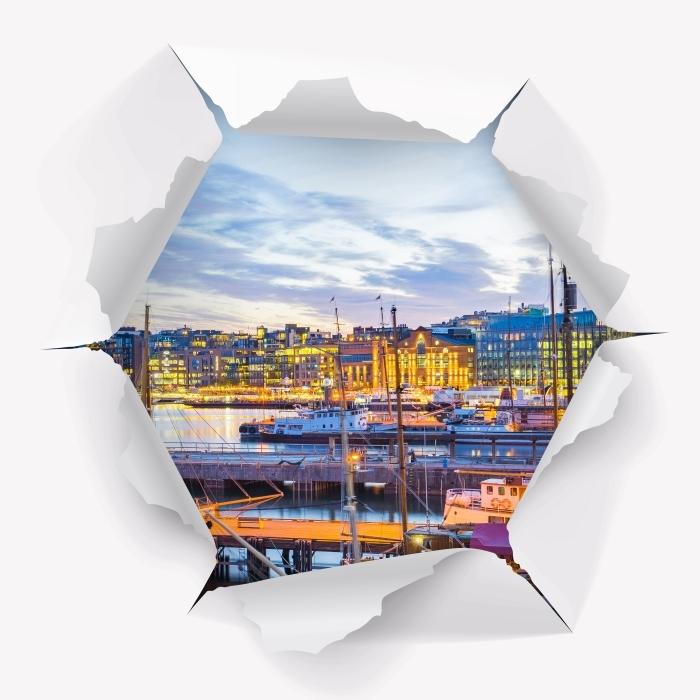 Vinyl-Fototapete Loch in der Wand - Oslo - Durchbruch in der Wand