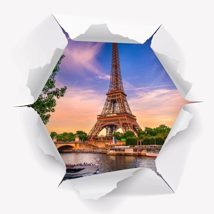 Vinyl Fotobehang Gat in de muur - Parijs en de Eiffeltoren - Gaten in de muur