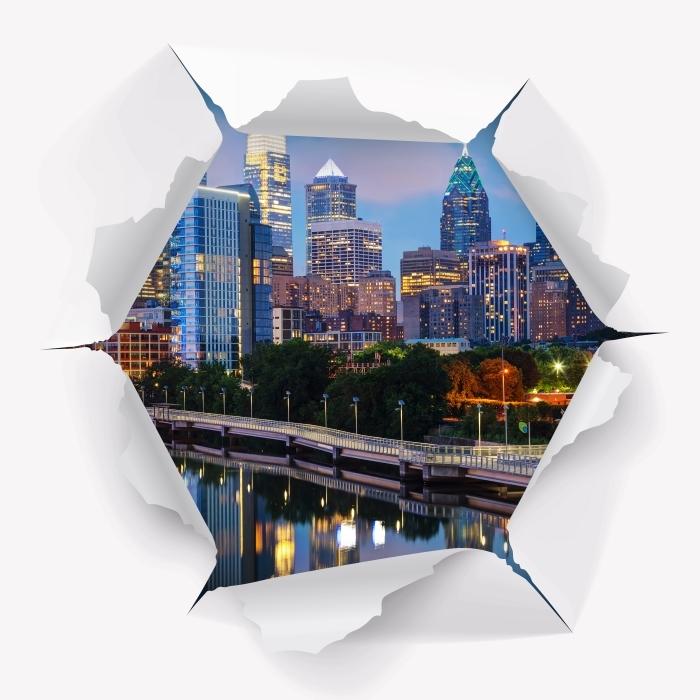 Vinyl-Fototapete Loch in der Wand - Philadelphia in der Nacht - Durchbruch in der Wand
