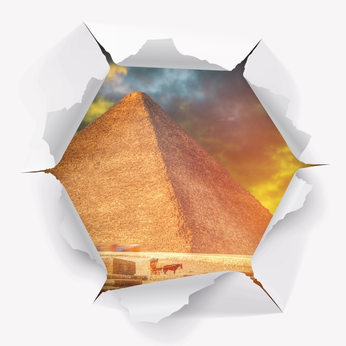 Fototapeta winylowa Dziura w ścianie - Piramidy w Gizie - Dziury w ścianie
